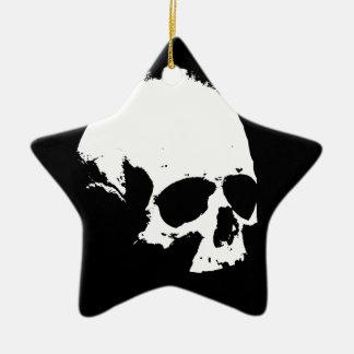 Black & White Skull Ceramic Star Decoration