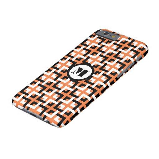 Black-White Squares and Orange iPhone 6 Case