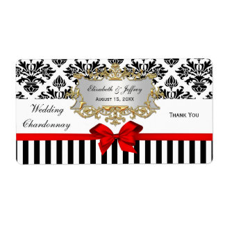 Black White Stripe Damask Red Party Wine Label Shipping Label