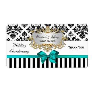 Black White Stripe Damask Teal Party Wine Label Shipping Label
