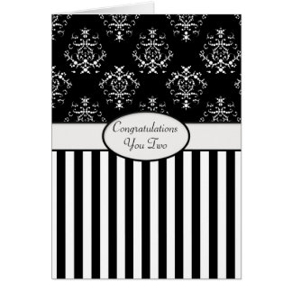 Black & White Striped Baroque Congrats Greeting Card