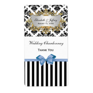 Black White Striped Damask Lt Blue Wine Label