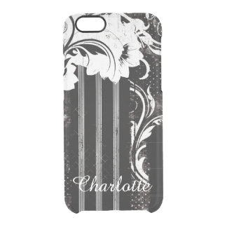Black White Stripes Flora Uncommon Case for iPhone