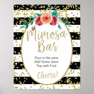 Black & White Stripes Mimosa Bar Sign Poster