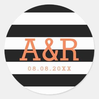 Black & White Stripes | Orange Monogram & Date Round Sticker