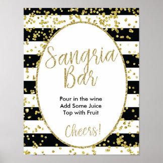 Black & White Stripes Sangria Bar Sign Poster