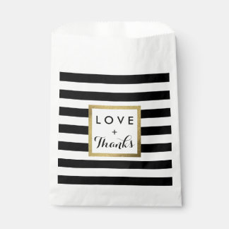 Black & White Stripes with Gold Foil Wedding Favour Bags