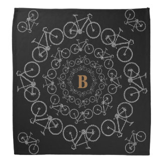 black white stylish bicycles in circles bandana