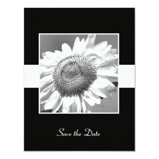 Black & White Sunflower Save the Date Card