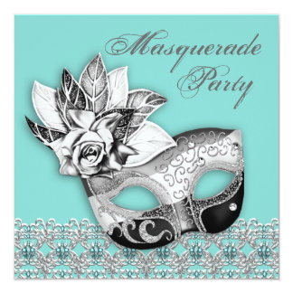 Black White Teal Blue Masquerade Party Invitations