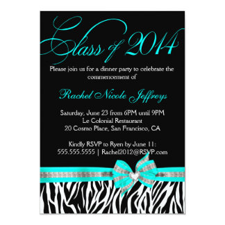 "Black White Teal Zebra 2014 Graduation Invitation 5"" X 7"" Invitation Card"