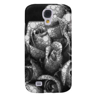 Black&White Textured Roses Galaxy S4 Case