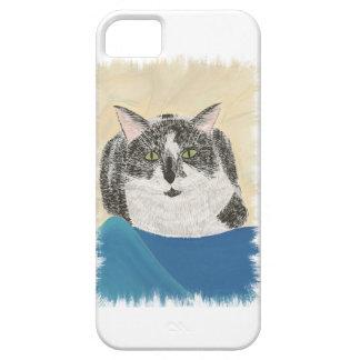 Black White Tuxedo Cat on Blue iPhone 5 Cases