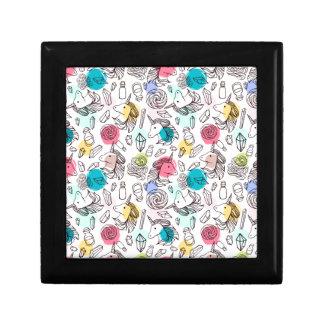 Black & White Unicorn Sketch - Colorful Polka Dots Gift Box