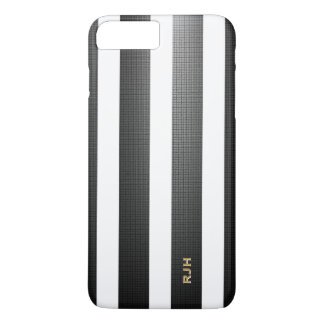Black/White Vertical Stripes, Add Monogram iPhone 7 Plus Case