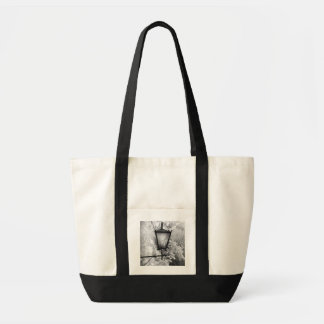 Black & White view of light fixture Tote Bag