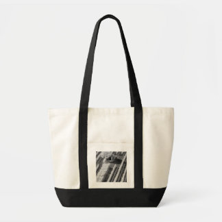 Black & White view of small stone barn Tote Bag