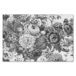 Black & White Vintage Floral Toile No.3A Tissue Paper