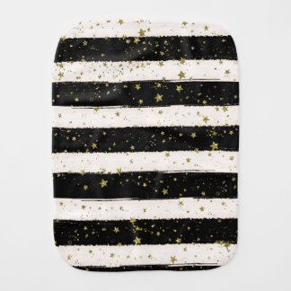 Black White Watercolor Stripes Gold Glitter Stars Baby Burp Cloths