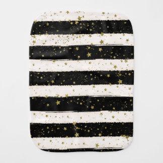 Black White Watercolor Stripes Gold Glitter Stars Burp Cloth
