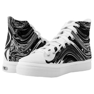 Black & White Wave Pattern High Tops Printed Shoes