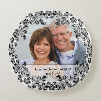 Black & White Wedding Anniversary with a photo Round Cushion