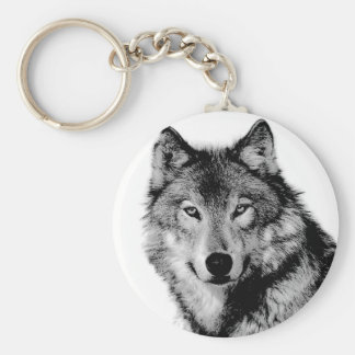 Black & White Wolf Basic Round Button Key Ring