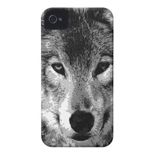 Black & White Wolf Eyes iPhone 4 Case
