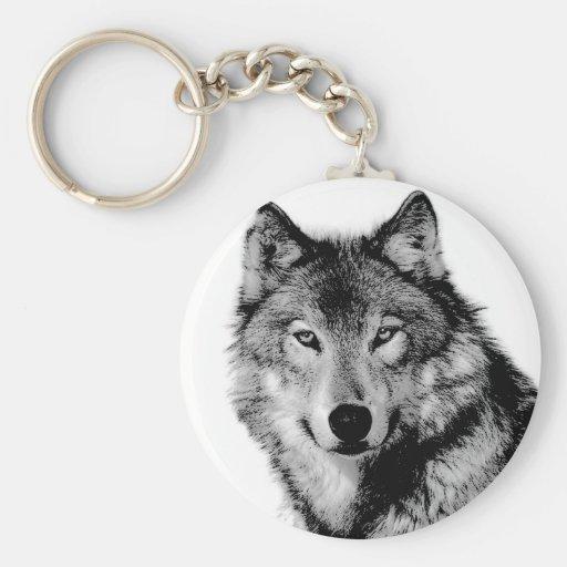 Black & White Wolf Key Chains