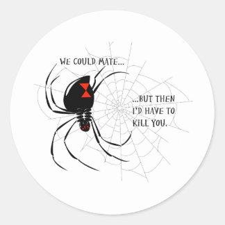 Black Widow Classic Round Sticker