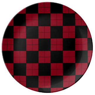 Black Wine Red Argyle Look Plate Dinner Tailgating