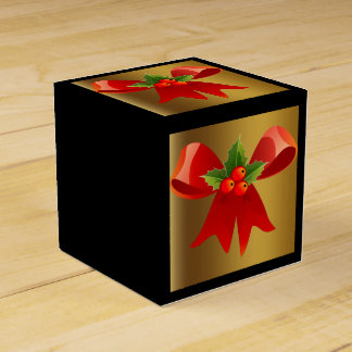 Black with Brushed Gold and Red Bow Favour Box