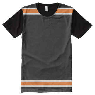 Black with Orange and White Trim All-Over Print T-Shirt