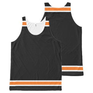 Black with Orange and White Trim All-Over Print Tank Top