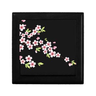 Black with Pink and Green Cherry Blossom Sakura Gift Box