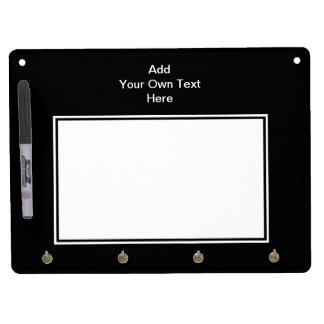 Black with White Area and Custom Text. Dry Erase Board With Key Ring Holder