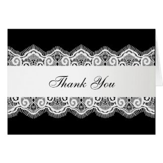 Black with White Lace Thank You Card