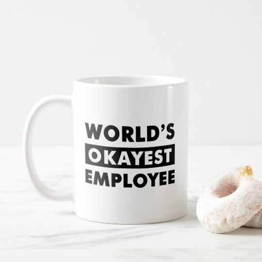 Black World's Okayest Employee Personalised Mug