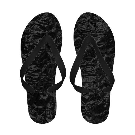 black wrinkled foil sandals