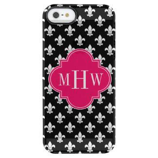 Black Wt Fleur de Lis Raspberry 3 Initial Monogram Clear iPhone SE/5/5s Case