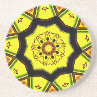 Black Yellow 7 branched Mandela Drink Coaster