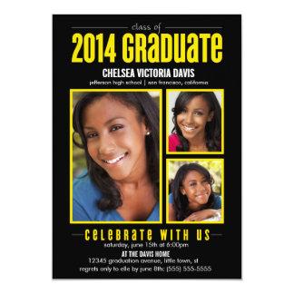 """Black Yellow Class of 2014 Graduate Photo Invite 5"""" X 7"""" Invitation Card"""