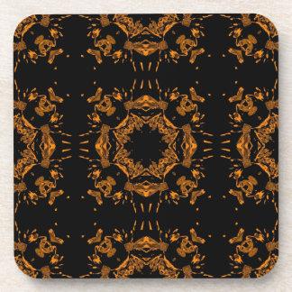 Black, Yellow copper Floral Damasks Retro Pattern Coaster