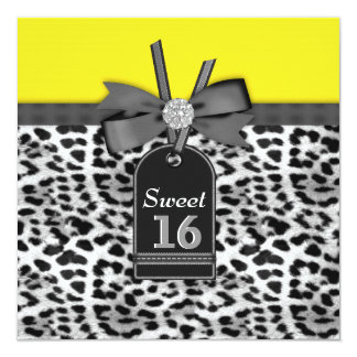 """Black Yellow Leopard Sweet Sixteen Birthday Party 5.25"""" Square Invitation Card"""