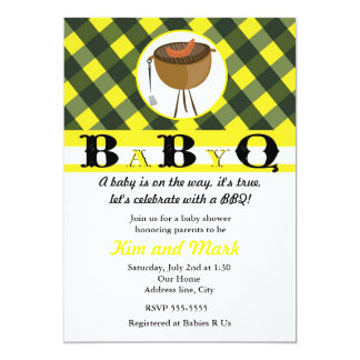 Black Yellow Summer BBQ Baby Shower Invitations