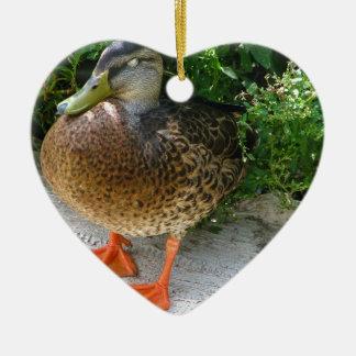 Black & Yellow toned Bird with Orange Feet Ceramic Heart Decoration