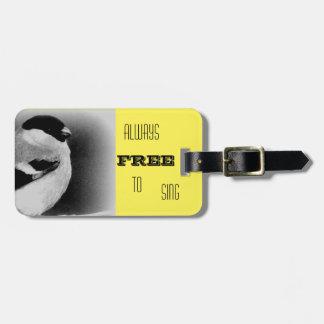 Black, Yellow, White Bird Luggage Tag