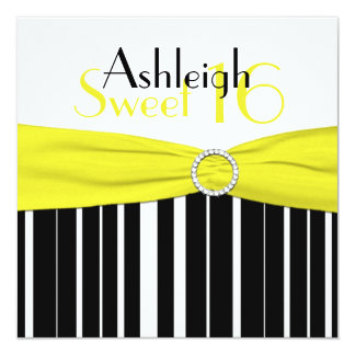 Black, Yellow, White Sweet 16 Invite FAUX Bling