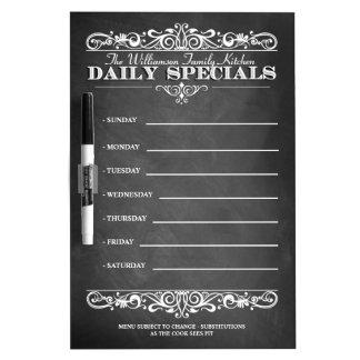 Blackboard Weekly Dinner Menu Dry Erase Whiteboards