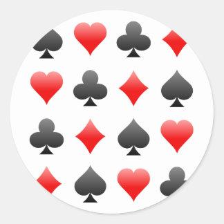 Blackjack / Poker Card Suits: Vector Art: Classic Round Sticker